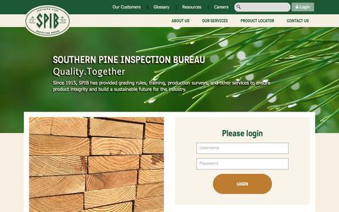 Screenshot of Login Page spib.org - Account Login | SPIB | Southern Pine Inspection Bureau - captured Oct. 20, 2018