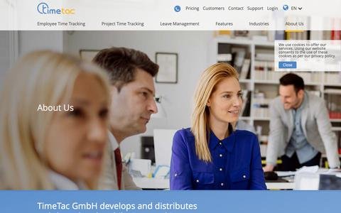 Screenshot of About Page timetac.com - About Us | TimeTac - captured Oct. 20, 2018