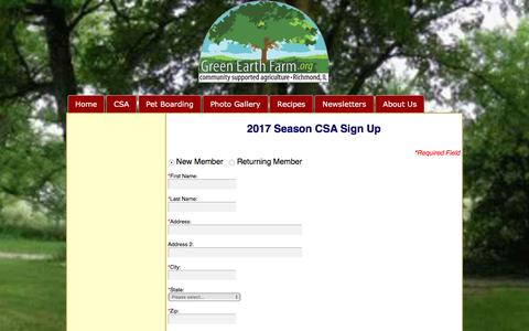 Screenshot of Signup Page greenearthfarm.org - Sign Up For the 2016 Season | Green Earth Farm CSA - captured May 24, 2017