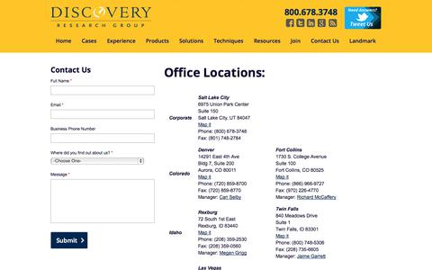 Screenshot of Locations Page discoveryresearchgroup.com - Market Research Utah | Market Research Nevada | Market Research Idaho - captured Sept. 29, 2014