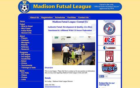 Screenshot of Contact Page madisonfutsal.com - Madison Futsal League - Contact Us - captured Oct. 4, 2014