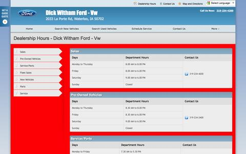 Screenshot of Hours Page dickwitham.net - Dealership Hours at Dick Witham Ford - Vw - Your Waterloo, Iowa Ford dealer - captured June 24, 2016