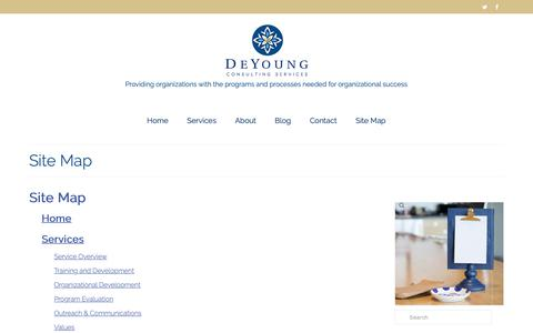 Screenshot of Site Map Page deyoungconsultingservices.com - Site Map - DeYoung Consulting Services, Minneapolis, Minnesota | Nationally Serving Nonprofits and Public Sector Clients - captured Oct. 8, 2018