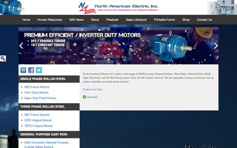 Screenshot of Products Page naemotors.com - Motor Product Lines   North American Electric, Inc. - captured Oct. 2, 2014