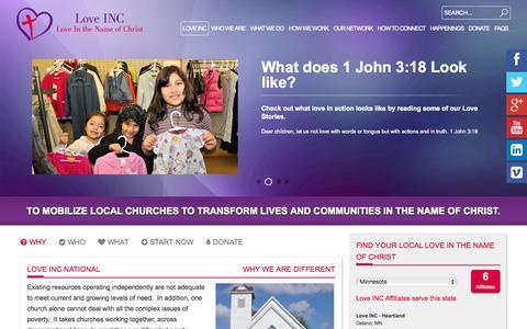 Screenshot of Home Page loveinc.org - Love INC - captured Sept. 30, 2014