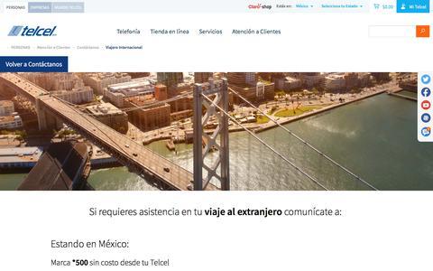 Screenshot of telcel.com - Viajero Internacional - captured Oct. 2, 2017