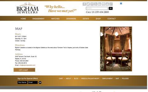 Screenshot of Maps & Directions Page bighamjewelers.com - Location Map | Bigham Jewelers - captured Oct. 29, 2014