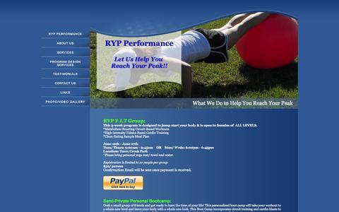 Screenshot of Services Page rypperformance.com - RYP Performance - captured Sept. 30, 2014