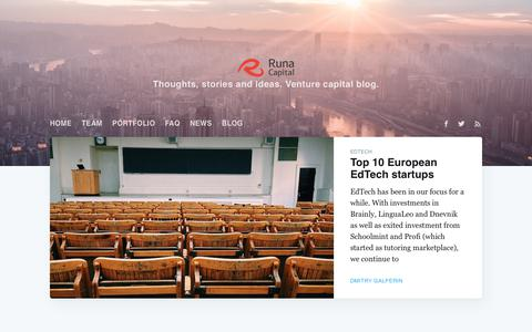 Screenshot of Blog runacap.com - Runa View - captured Sept. 22, 2018