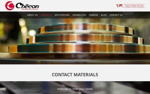 Screenshot of Products Page checon.com - Checon Corporation - Contact Materials, Contact Assemblies - captured Jan. 27, 2016