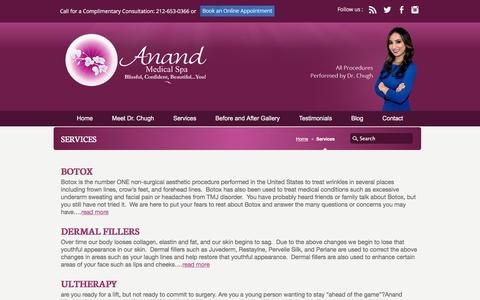 Screenshot of Services Page anandmedicalspa.com - Non-Invasive Cosmetic Treatments in NYC | Botox, Juvederm, Latisse, Ultherapy - captured May 30, 2017