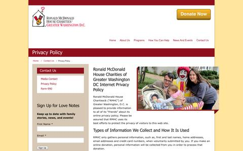 Screenshot of Privacy Page rmhcdc.org - Privacy Policy | Ronald McDonald House Charities of Greater Washington DC - captured Oct. 7, 2014