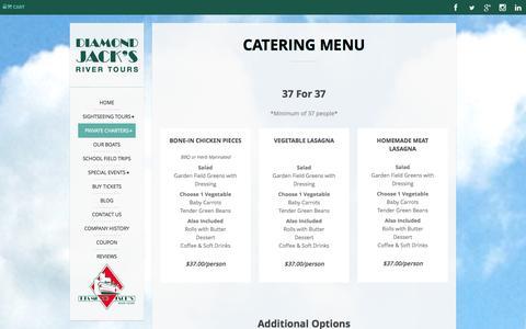 Screenshot of Menu Page diamondjack.com - Catering Menu | Detroit River| Diamond Jack's River Tours - captured Sept. 22, 2014