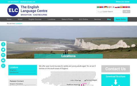 Screenshot of Locations Page elc-schools.com - Locations | English Schools in Brighton & Eastbourne: ELC - captured May 5, 2017