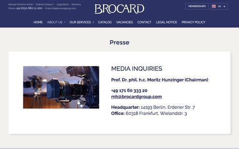 Screenshot of Press Page brocard.com - Press - Brocard - captured Oct. 9, 2017