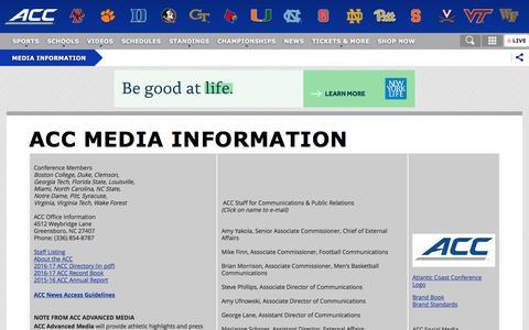 Screenshot of Press Page theacc.com - Media Information - - captured Dec. 5, 2016