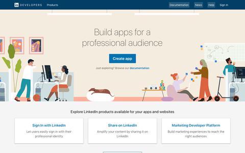 Screenshot of Developers Page linkedin.com - Developers   Linkedin - captured Sept. 18, 2019