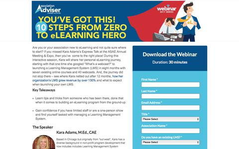 Screenshot of Landing Page naylor.com - 10 Steps from Zero to eLearning Hero - Webinar - Naylor Association Solutions - captured March 4, 2018
