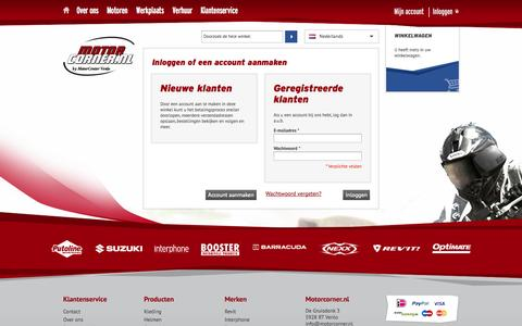 Screenshot of Login Page motorcorner.nl - Klant-login  - MotorCorner.nl - captured Oct. 26, 2014