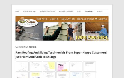 Screenshot of Testimonials Page roofingcontractorclarkstonmi.com - Roofers, Roofers Clarkston MI, Roofers Clarkston, Clarkston Roofers - captured June 13, 2016