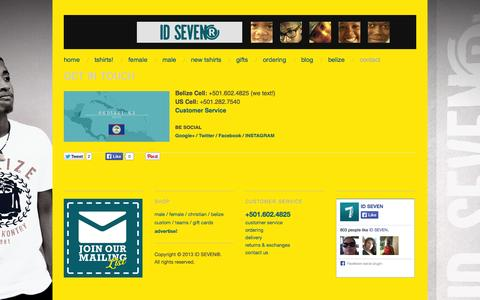 Screenshot of Contact Page idsevenbelize.com - get in touch | ID SEVEN - captured Oct. 3, 2014