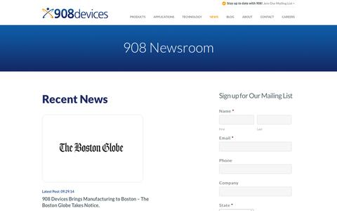 Screenshot of Press Page 908devices.com - Mass Spectrometer News - 908 Devices - captured Oct. 28, 2014