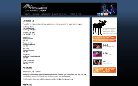 Screenshot of Contact Page Maps & Directions Page anchorageopera.org - ::ANCHORAGE OPERA:: - captured Sept. 30, 2014