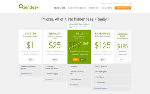 Screenshot of Pricing Page zendesk.com - Zendesk Pricing | Plans starting from just $1 a month - captured July 20, 2014