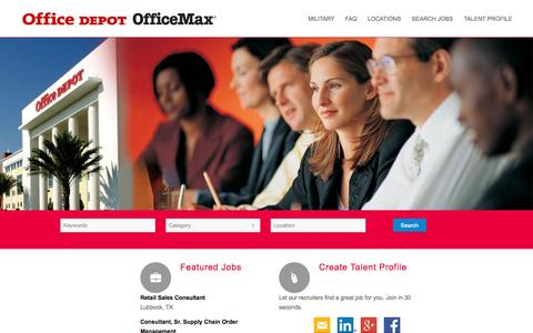 Screenshot of Jobs Page officedepot.com - Office Depot | Jobs Home - captured Nov. 5, 2015