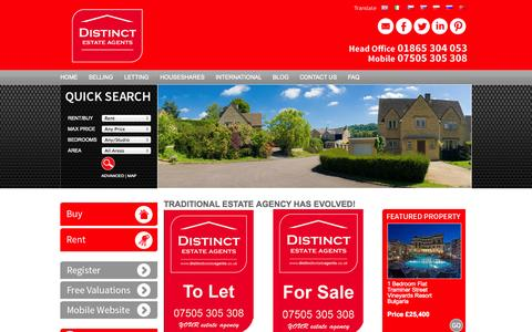 Screenshot of Home Page sarkaa.com - Nationwide Estate and Letting Agents with offices in Oxford - Distinct Estate Agents - captured Oct. 3, 2014