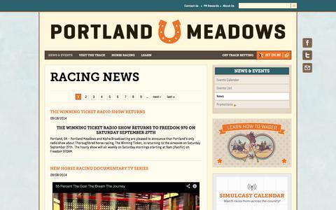 Screenshot of Press Page portlandmeadows.com - Racing News | Portland Meadows - captured Sept. 30, 2014
