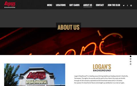 Screenshot of About Page logansroadhouse.com - About Us - Logans Roadhouse - captured Feb. 3, 2016