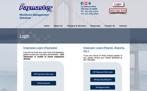 Screenshot of Login Page cscpaymaster.com - CSC Paymaster, Inc. - Payroll, Time & Attendance, Human Resources | Login - captured Oct. 12, 2016