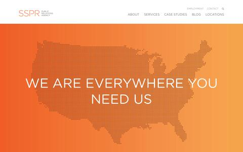 Screenshot of Locations Page sspr.com - Locations Archive - SSPR Public Relations Agency - captured Nov. 17, 2015