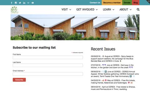 Screenshot of Signup Page ceres.org.au - Newsletter Signup | CERES Community Environment Park - captured Oct. 4, 2016