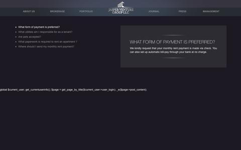 Screenshot of FAQ Page jasper-group.com - faq   Jasper Venture Group, LLC – A real estate investment firm New York - captured Nov. 26, 2016