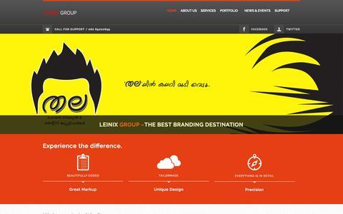Screenshot of Home Page leinix.com - Leinix Advertising Agency| Kochi | Ad Film | Media production | Web designing | Branding | International Call centre | SEO | server hardware and networking - captured Sept. 17, 2015