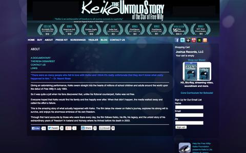 Screenshot of About Page keikotheuntoldstory.com - ABOUT - Keiko The Untold Story of the Star of Free Willy - captured Oct. 6, 2014