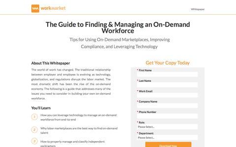 Screenshot of Landing Page workmarket.com - Find and Manage Onsite Freelancers - WorkMarket - captured March 23, 2017