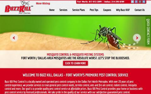 Screenshot of Home Page buzzkillpestcontrol.com - Dallas Pest Control, DFW Termite Pest Control, Commercial & Residential Exterminator, 817-812-2899 - captured Oct. 5, 2014