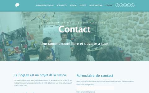 Screenshot of Contact Page coglab.fr - Contact | CogLab, NeuroTechX Paris - captured July 19, 2018