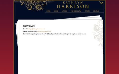 Screenshot of Contact Page kathrynharrison.com - Kathryn Harrison   Contact - captured June 11, 2016