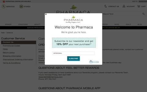 Screenshot of Contact Page pharmaca.com - Contact Us | Pharmaca - captured Sept. 1, 2017