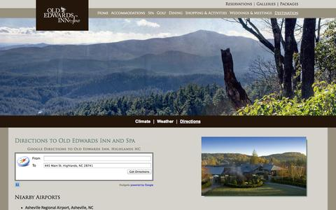 Screenshot of Maps & Directions Page oldedwardsinn.com - Directions to Old Edwards Inn and Spa | Old Edwards Inn & Spa, Highlands, NC - captured Sept. 19, 2014