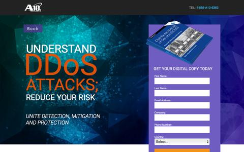 Screenshot of Landing Page a10networks.com - DDoS Practical Detection and Defense - captured March 27, 2018