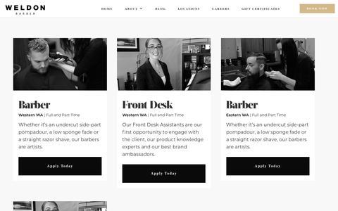 Screenshot of Jobs Page weldonbarber.com - Careers | - captured July 16, 2019