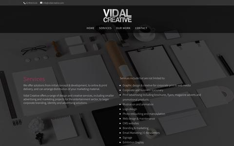 Screenshot of Services Page vidalcreative.com.au - Services | Vidal Creative - captured March 2, 2016