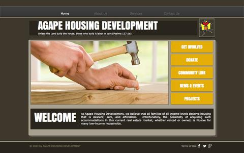Screenshot of Home Page agapehousing.org - AGAPE HOUSING DEVELOPMENT - captured Oct. 4, 2014
