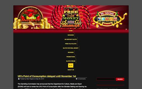 Screenshot of Blog freeslotmoney.com - Deposit and No Deposit Bonus Blog | Casino Slot Game Reviews - captured Sept. 30, 2014