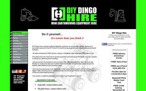 Screenshot of Home Page diydingohire.net.au - DIY Dingo Hire - captured Sept. 30, 2014
